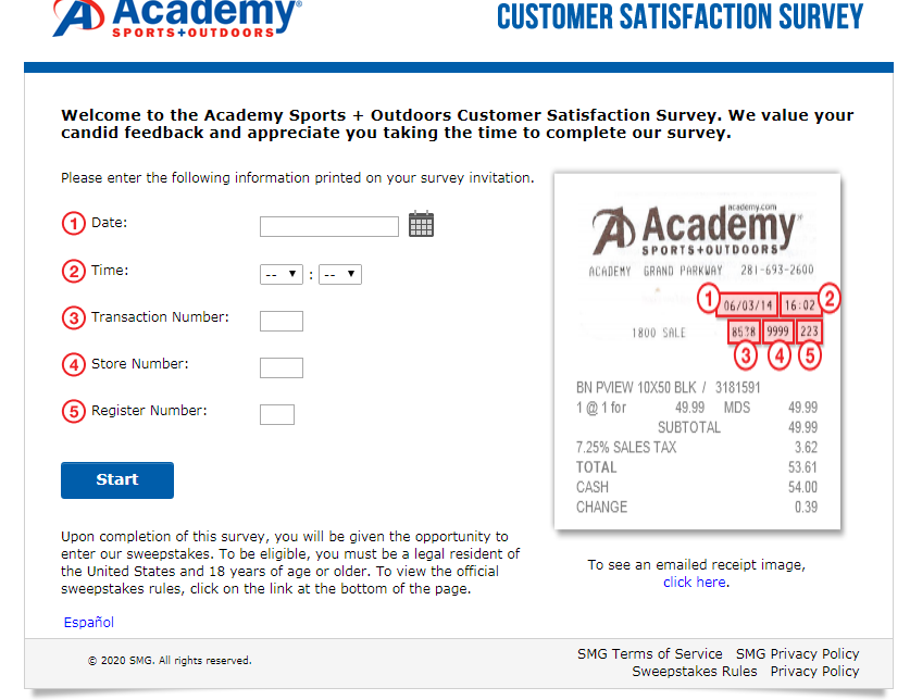 Academy Sports + Outdoors Guest Satisfaction Survey