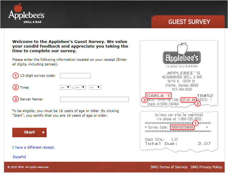 Applebee's Canada Guest Survey