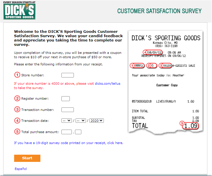 DICK'S Sporting Goods Guest Satisfaction Survey
