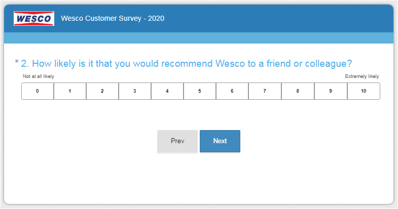 Wesco Guest Feedback Survey