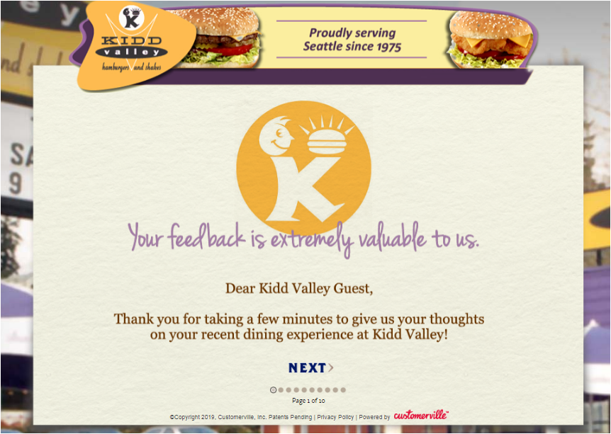 Tell Kidd Valley Guest Experience Survey